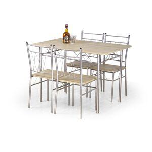 HM MÖBEL Jídelní sestava Faust, stůl+ 4 židle, dub sonoma